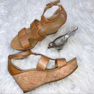 "Franco Sarto Camel Leather ""Falco"" Wedge Sandals"
